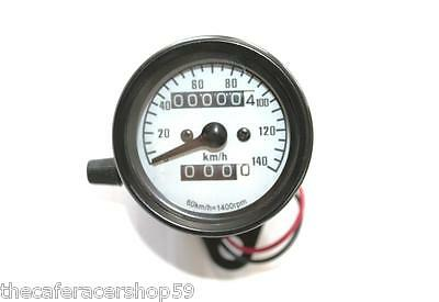 60mm Motorcycle Speedometer. Black body / White face. Trip meter suit Cafe Racer