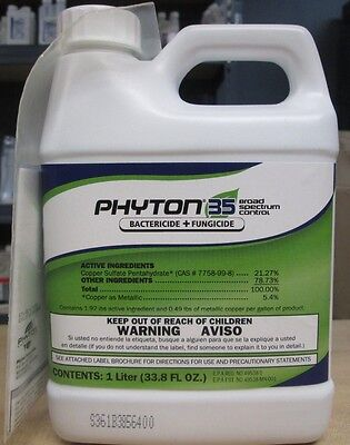PHYTON 35 BACTERICIDE & FUNGICIDE 33.8oz /1 Ltr For Veg Crops Quicker Absorbtion