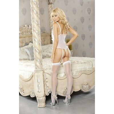 Fantasy Lingerie Pure Teddy with Removable Garters L