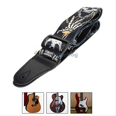 Adjustable Soft Leather Horror Skull Strap for Electric Acoustic Guitar Bass New