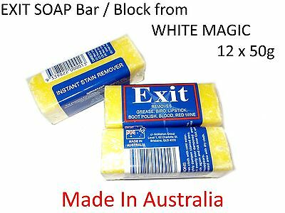 12 x 50g EXIT SOAP Bar / Block from WHITE MAGIC ( Australia Made )