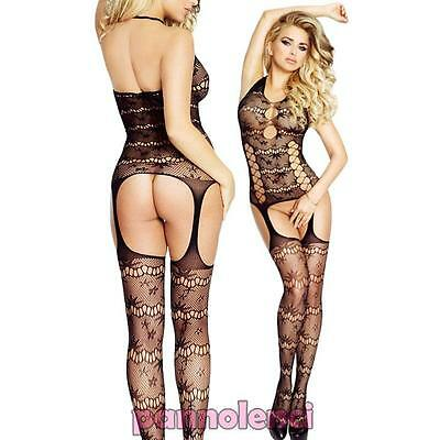 Bodystocking donna tutina catsuit pizzo lingerie intimo nuovo DL-1920