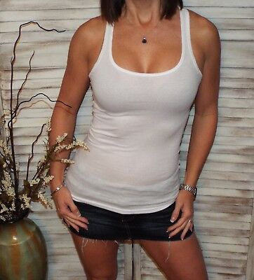 18f61a9115e0f4 Sexy Ribbed Low Scoop Racerback Boy Beater Cleavage Tank Top White S M L