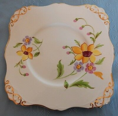 """Tuscan English Bone China 9"""" Cookie Plate Yellow Pink Purple flowers Floral"""