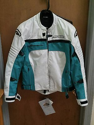 Fieldsheer Womens Motorcyle Jacket White and Teal