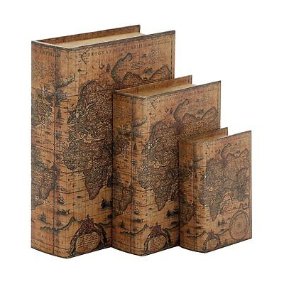 Woodland Imports 41073 Wood and Faux Leather Book Boxes (set of 3)