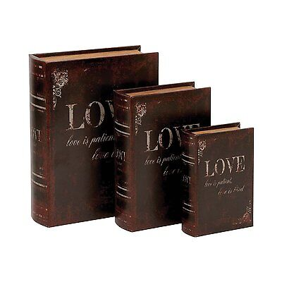 Woodland Imports 59380 Wooden and Leather Book Boxes (Set of 3)