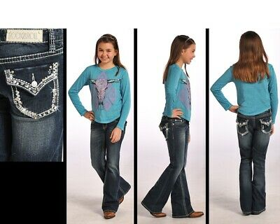 Rock & Roll Cowgirl Abstract Border Rhinestone Boot Cut Jeans G5-4515