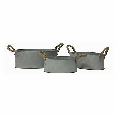 Cheung's FP-3728-3 Oval Galvanized Metal Buckets (Set of 3)