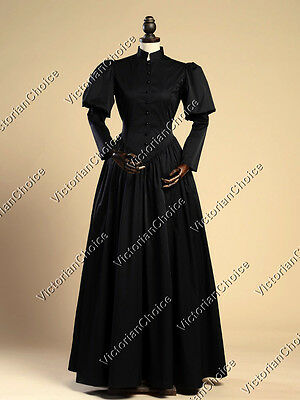 Victorian Steampunk Wicked Witch Black Frock Maid Dress Halloween Costume N 006