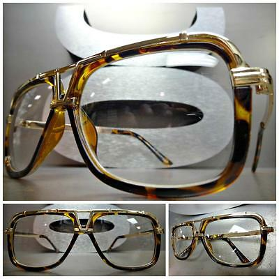 CLASSIC VINTAGE RETRO Style Clear Lens EYE GLASSES Gold & Tortoise Fashion Frame