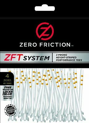 PGA Tour Zero Friction System Golf T-Shirt Pack of 40 - White, 4 Inch