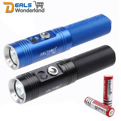 ARCHON CREE XM-L V10S 860LM Underwater Diving Torch LED Flashlight +2 Batteries