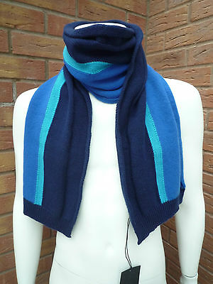 Paul Smith 100% Wool Blue Stripe Scarf Made In Uk Bnwt