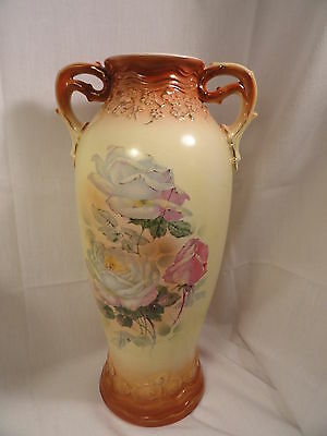 """Antique Austrian  Pottery Vase Yellow Floral 15"""" High 2 handled"""