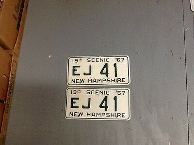 Pair 1967 New Hampshire License Plates. Ej41
