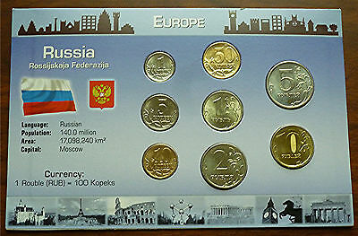 2005-2010 Russia - Mint Bu Type Coin Set (8) - Littleton Card - Beauty!