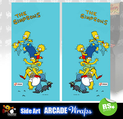 The Simpsons Arcade Side Artwork Panel Stickers Graphics / Laminated All Sizes