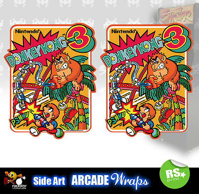 Donkey Kong 3 Arcade Side Artwork Panel Stickers Graphics  / Laminated All Sizes