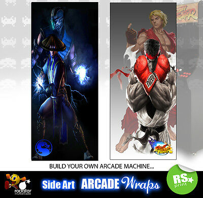 Mortal Kombat Street fighter  Arcade Side Art Panel Stickers Graphics all sizes