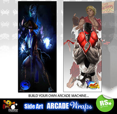 Mortal Kombat Street fighter  Arcade Side Artwork Panel Stickers Graphics