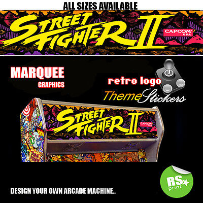 Arcade Marquee Stickers Graphics / Laminated All Sizes Designs Street fighter +