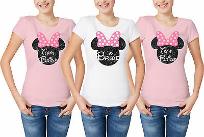 Disney inspired wedding hen party team bride t-shirts with glitter Minnie Mouse