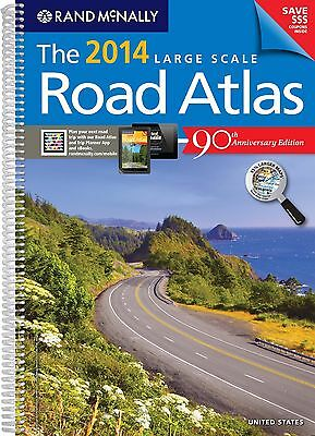 2014 Rand McNally LARGE Scale USA Road Atlas  Spiral-Bound