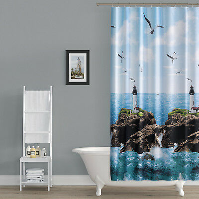 textil duschvorhang 120 x 200 cm leuchtturm am meer blau weiss gr n inkl ringe eur 12 90. Black Bedroom Furniture Sets. Home Design Ideas