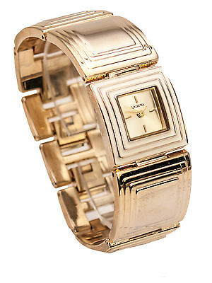 Women's Gold Finish White Square Case Adjustable Square Link Analog Quartz Watch