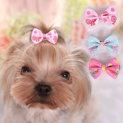 10PCS Lot Dog Hair Grooming Small Pet Cat Hairpin Yorkie Hair Bow Print Bowknot