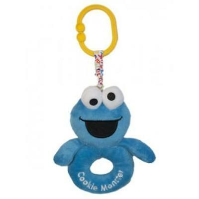 NEW Sesame St Cookie Monster Soft Ring Rattle with Attachable Clip