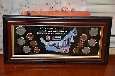 United Arab Emirates 12 Coin Collection Beautifully Professionally Framed UAE