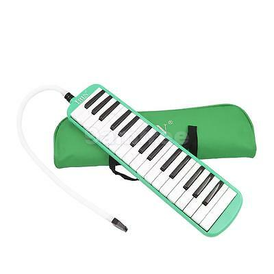 32 Key Melodica Piano Keyboard Style Wind Instrument With Carrying Bag Green