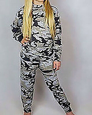 New Kids Girls Camouflage Tracksuit Loungewear Set Joggers Melange Age 9-14years