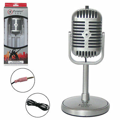 Silver Mini Microphone Mic Stand Type 3.5mm Jack for PC Computer Audio