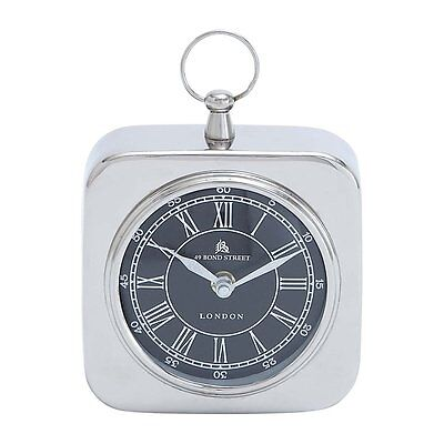 Woodland Imports 27854 Nickel Plated Table Clock