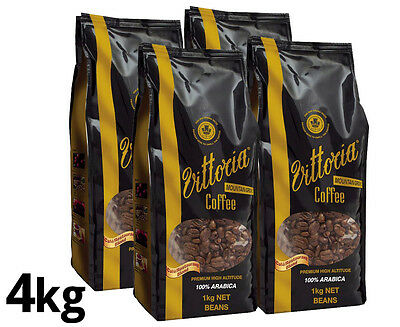 4 x Vittoria Mountain Grown Arabica Coffee Beans 1kg