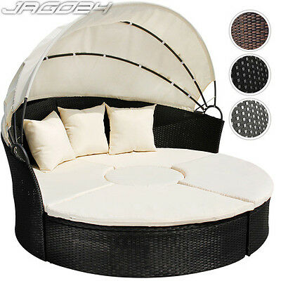 Poly Rattan Day Bed Garden Furniture Outdoor Sofa Sun Lounger Table Roof Ø180cm