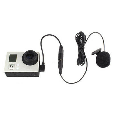 3.5mm External Microphone Clip On Mic + Adapter Cable Kit for GoPro Hero 4 3 3+
