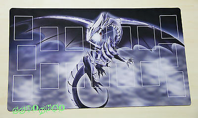 G498# Free Mat Bag YUGIOH Playmat Blue-Eyes White Dragon Play Mat Card Zones