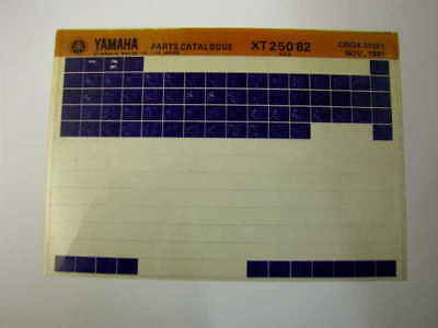 Yamaha Xt250 Xt 250 1982 Gen Parts Catalogue Microfiche