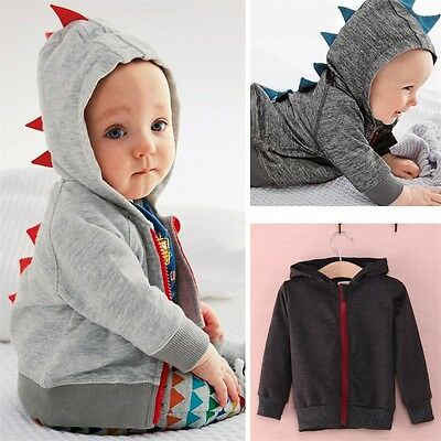Toddler Jacket Coat Outwear Hooded Kids Baby Boys Dinosaur Long Sleeve Zipper AU