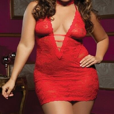 2409 - Plus Size Red Floral Lace Babydoll Chemise Thong Lingerie Underwear 16/18