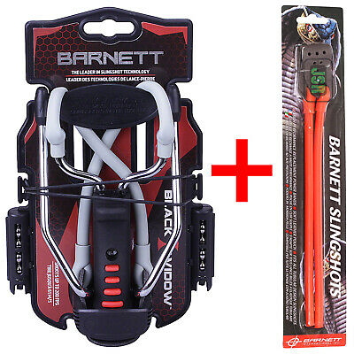 Barnett BLACK WIDOW Powerful Hunting Slingshot Catapult + Spare RED Powerband
