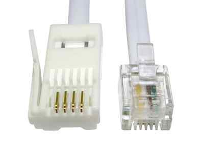 3m BT Plug RJ11 Telephone Cable Modem Sky+ Box 4 Pin Crossover Cross Wired Lead