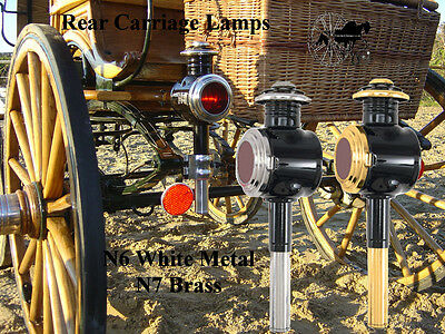 Rear Horse Carriage Coach Cart Lamp Brass Or White Metal Trim N6 N7