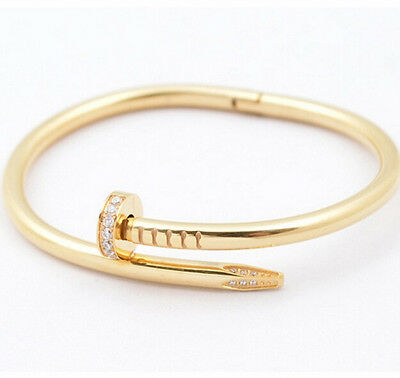 Love Bracelet Bangle Plaque Or Gold Women Strass