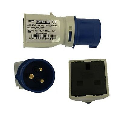 240V 16 Amp Industrial Plug To 13 Amp Domestic Socket Converter/Adapter |GW64204