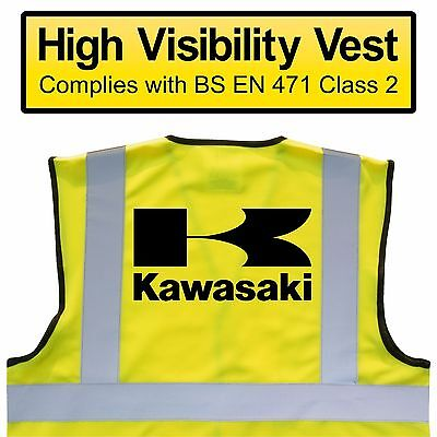KAWASAKI Hi Viz Vest, MOTORCYCLE High Visibility, Safety HV Yellow